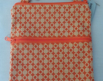 Cross Body BAG, Small Shoulder Purse, Sling BAG, Zippered Purse, Travel Purse, Orange and Yellow Dots