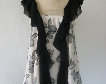 French Sugar Couture - Parisian Upcycled Linen Flowered Print  Long Top with Black Chiffon Scarf Detail - Altered Couture