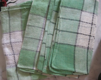 Vintage Napkins Set of Four, Woven Plaid, Green and White Luncheon