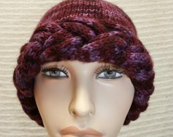 Handmade hand knitted burgundy hat with braided brim