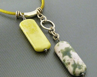 Yellow Jade  Pendant on Olive Leather Cord