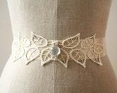 Ivory Lace Sash, Botanical Vine Sash