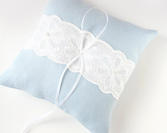 Blue Ring Pillow, Ring Bearer Pillow, Bridal Pillow, Wedding Pillow