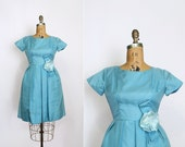 1950s dress - 50s party dress - prom - pastel blue - organza - full skirt - flower - Petite size Small - Extra Small