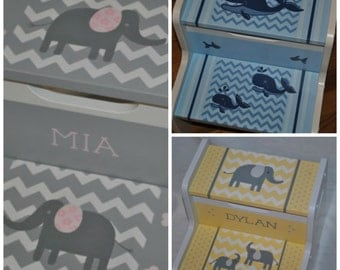 Kids Personalized 2 Step Stool - Chevron Floral Elephants Pink and Grey