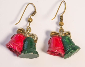 Christmas Bells Earrings Vintage Holiday Earrings Pierced