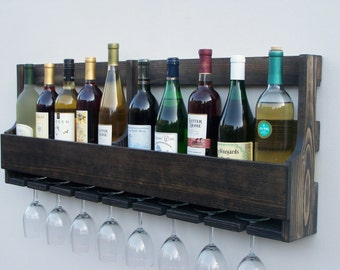 Rustic 10 Bottle Wall Mount Wine Rack With 8 Glass Holder Ebony Finish