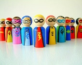 Super Friends - Set Of 10  Wooden Super Hero Dolls - Peg Doll  Super Heroes - Unique Gift - Stocking Stuffer - Zooble