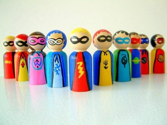 Super Friends - Set Of 10  Wooden Super Hero Dolls - Peg Doll  Super Heroes - Unique Gift - Stocking Stuffer - Zooble