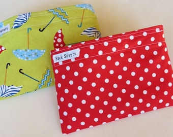 Reusable Snack Bag Set of Two Eco Friendly Umbrellas Red Polka Dots