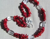 "Crystal Gemstone Statement Necklace, Clear Quartz & Natural Red Coral  ""Crimson Glory"""