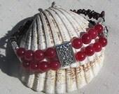 "Gemstone Crystal Bracelet, Cherry Quartz & Red Garnet ""Cherry Pie"""
