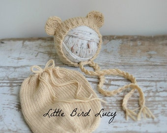 Bear Bonnet and Swaddle Sack, Knit Baby Hat, Cub, Ears, Newborn Hand Knitted Infant Photo Prop, Neutral Tones, Brown, Cream, Silver, Gray