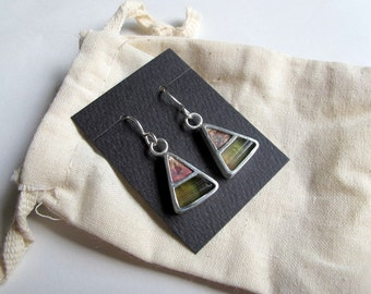 Sterling silver hook earrings with watermelon tourmaline and copper