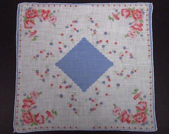 Vintage Handkerchief Red/Pink floral (vh108)