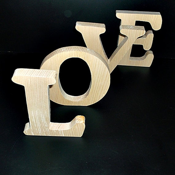 Love stand alone wood letters style 1 unfinished stk no for Standing wood letters to paint