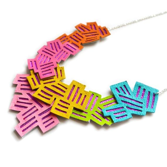 Neon Statement Necklace, Geometric Necklace, Rainbow Chevron Bib Necklace, Zig Zag Stripes Modern Metallic Pink Necklace