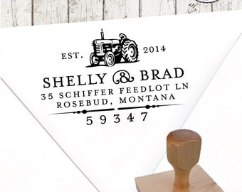 Return Address Stamp – 1.5 x 2.5 in TRACTOR – Personalized Wedding Paper Goods