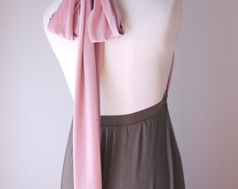 Sample Sale - Two Tone Convertible/Infinity Dress - rose & dark taupe - Size S/M