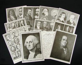 LOT Vintage Book Illustration Pages Historic Men Presidents Authors Writers Poets Diplomats Scientists Philosophers 1921 Old Book Ephemera