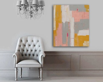Abstract Painting,Original Abstract Art,Colorful Art,Acrylic Painting Yellow, pink & gray Original Painting