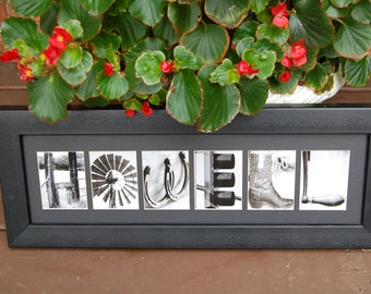 Framed Alphabet Photography Art Photo Letter Plaque Pictures Personalized Name Wedding Gift