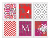 Vintage / Modern inspired Art Prints Collection - Set of 6 - 8x10 Print pattern wall art-  Custom Colors/ Sizes Available !!!