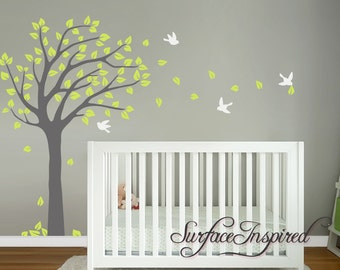 Tree Wall Decal Huge Tree wall decal Wall Mural Stickers Nursery Tree and Birds Wall Art Tattoo Nature Wall Decals Decor