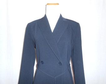 Womens Blazer Vintage Blazer Navy Blue Blazer 40s Style Ann Taylor Womens Vintage Clothing