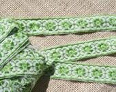 Vintage Ribbon Trim Embroidered Lime Green Floral Trim