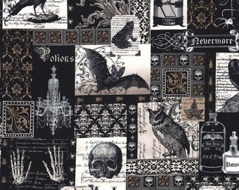 Nevermore Collage Edgar Allan Poe Fabric Michael Miller 1 Yard Fabric