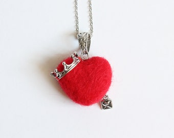 Needle Felted Crowned Red Heart Necklace