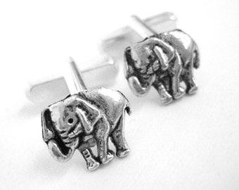 Silver Elephant Cufflinks - Mens Republican Gift For Him - Elephant Cuff Links - Mens Gift - Men Accessories