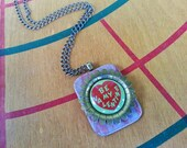 Be My Valentine - Upcycled Vintage Heart Pinback Button Holiday Necklace