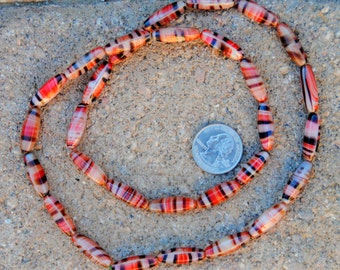Vintage Glass Tiger Beads: Pink/Orange