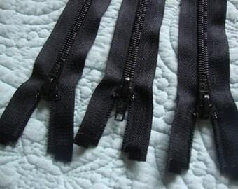"Three 18.5"" Long Separating Black Zipper Plastic Zipper Sewing Supplies Notions Fashion Design S113"