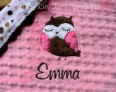 Baby blanket personalized- baby girl owl hot pink and brown- lovey blanket