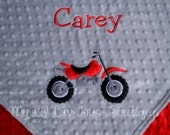 Personalized baby blanket- silver grey and red dirt bike- 30x35 stroller blanket