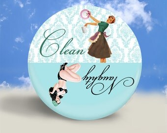 Pin Up and Housewife Clean Dirty Dishwasher Magnet - Teal and Light Blue - 2.25 Inches