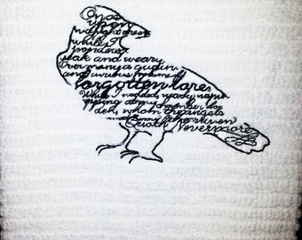 Embroidered Raven with Poe Raven Quote on Cotton Kitchen or Bar Towel, gothic design