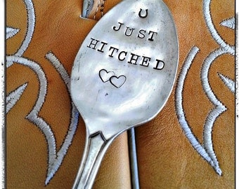 Just Hitched, Vintage Silver Spoon, Hand Stamped, Wedding Gift, Cake Topper, Plant Marker, Photo Prop, Western Wedding, Horseshoe, Cowgirl