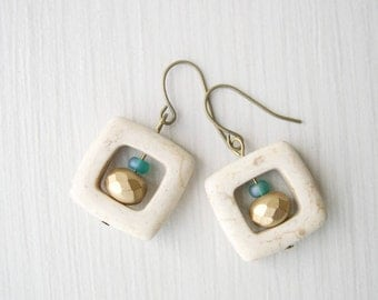 Boho Earrings - Stone Jewelry, Gold, Metallic, Teal, Ivory, Earthy, Czech Glass, Antiqued Brass, Brown