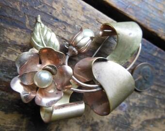Vintage Pearl Rose Ribbon Flower Brooch Pendant