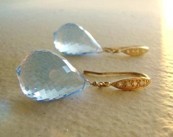 Luxury Sky Blue Topaz Gold Pave Earrings AQUA