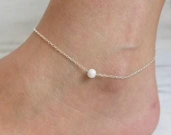 silver anklet,single bead anklet,sterling silver anklet,silver ball anklet, ankle bracelet,delicate anklet, beach anklet, thin simple anklet