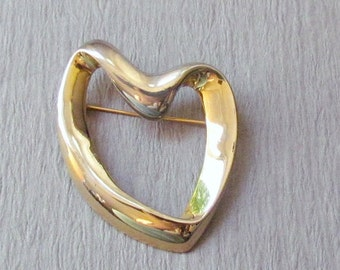 Vintage Heart Pin Silver and Gold Brooch Signed KC