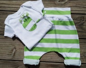 Sale / Baby Pants Onesie Set / Green White / Organic Cotton