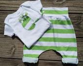 Sale / Baby Pants Onesie Set / Green White / Organic Cotton