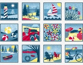 Sale-Weekend Retreat from Henry Glass Fabrics - 1 Panel of 12 Beach/Summer Bikes, BeachBalls, Sailboats, Canoes Quilt Fabric