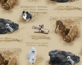 Sand Scribbles from Elizabeth's Studio by Supie Davis - Dog Inspiration Fabric